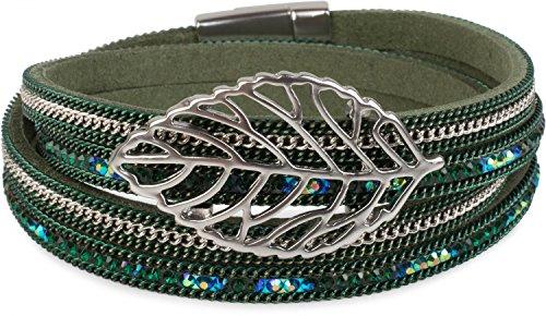 styleBREAKER Wickelarmband mit Strass und Ketten, Blatt Anhänger, Magnetverschluss, Armband, Damen 05040069, Farbe:Dunkelgrün