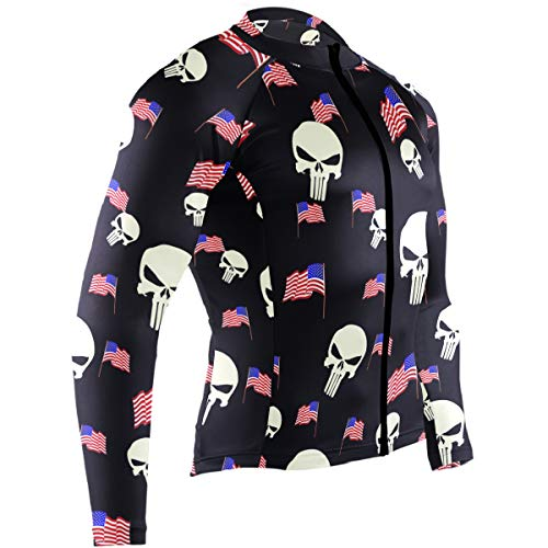 Cycling Jersey Men Long Sleeve Tops Punisher Skull Bike Shirts Bicycle Clothes Jacket