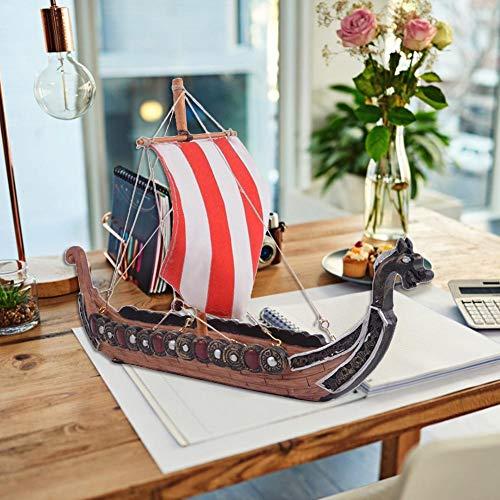 Modell aus Holz Wikingerschiff Retro Viking Piratenschiff Piratenschiffe Modellboot, Dekoration Drachenboot, Geschenk für Erwachsene und Kinder, 25.5 x 17.5 x 5.5cm