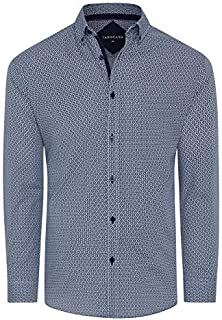 Tarocash Men's Warwick Geo Print Shirt Regular Fit Long Sleeve Sizes XS-5XL for Going Out Smart Occasionwear