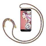 ZhinkArts Handykette kompatibel mit Samsung Galaxy A6 2018 - Smartphone Necklace Hülle mit Band - Handyhülle Hülle mit Kette zum umhängen in Rainbow