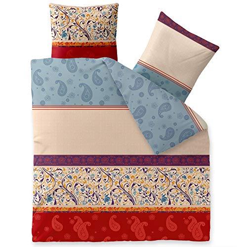 CelinaTex Touchme Biber Bettwäsche 200 x 220 cm 3teilig Baumwolle Bettbezug Megan Ornamente beige blau rot