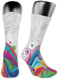 Pattern Socks,Socks Abstract Sea Of Rainbow Color Waves