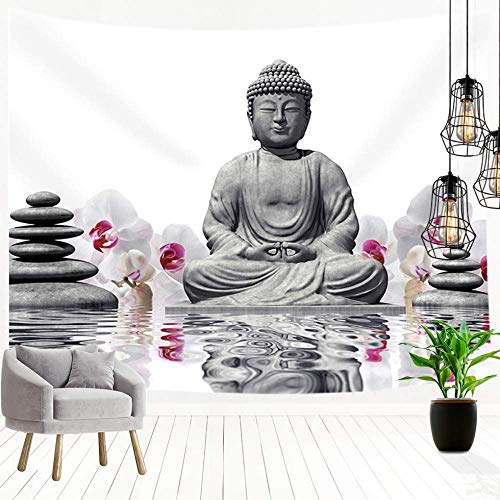 60x40 in-Buddha Tapestry, Orchid with Black Stones with Water Bedroom Living Room Indoor Dorm Wall Hanging Tapestry for Wall Decoration 3D Print Art Tapestry