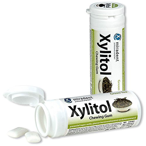 6x Miradent Xylitol Chewing Gum Zahnpflegekaugummis 30 Stück Dose grüner Tee (6x 30g)