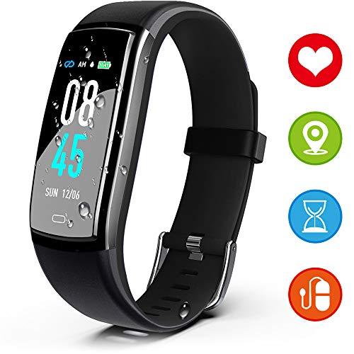 JAZIPO Fitness Armband mit Pulsmesser Blutdruck, Wasserdicht IP68 Fitness Tracker Smartwatch GPS Aktivitätstracker Pulsuhren Blutdruckmesser Vibrationsalarm Anruf SMS für Damen Männe