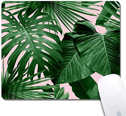 Mauspad mit genähten Kanten, Tropenpflanzen Kundenspezifisches Design Erweitertes Gaming-Mauspad Rutschfeste Gummibasis Ergonomisches Mauspad für Computer - Schwarzes Rechteck