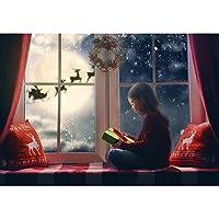 GooEoo 10x7ft クリスマスの背景冬のスノーフレーク枕窓月トナカイサンタクロース花輪花輪休日家族の集まり子供グラフィー背景装飾スタジオビニール素材