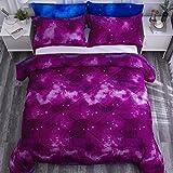 Paxrac 3D Galaxy Comforter Set, Twin Size (68''x90'') 2 Pieces (1 Galaxy Comforter, 1 Pillowcase), Universal Outer Space Bedding Set, Soft Microfiber Lightweight Comforter Set for Kid, Boy, Girl, Teen