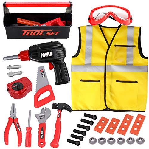 LOYO Kids Tool Set - 32Pcs Construction Tool Toys with Play Electric Drill and Carry Case Tool Box Pretend Play Toys for 3 4 5 6 7 Years Old Toddlers Boys