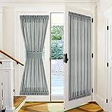 PONY DANCE Door Panel Sheers - 52 x 72 inches Dark Grey Faux Linen Look Textured Sliding Glass Door Drapes Semi-Transparent for Front French Door with Bonus Tieback, 1 PC