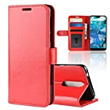 CHEJHUA Con el sostenedor y Ranuras for Tarjetas y Monedero (Negro), R64 Textura Individual Plegable Funda de Cuero for Nokia Hoja Horizontal 7.1 Hecho (Color : Red)