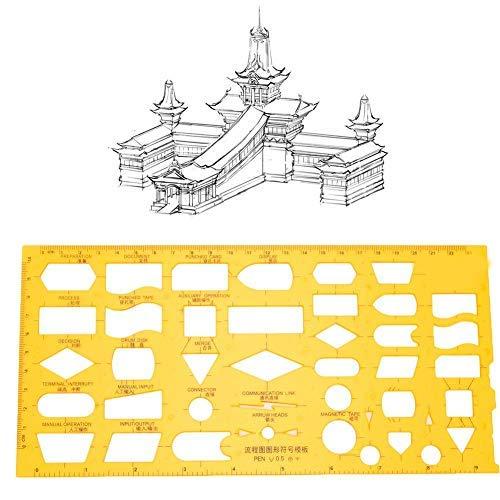 Plantillas de dibujo, plantillas arquitectónicas multifuncionales de plástico Regla geométrica hueca para el estudio de edificios escolares de oficinas(4351)
