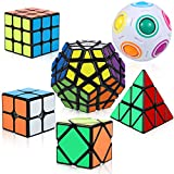Speed Cube Set, Puzzle Cube,6 Pack Magic Cube Bundle - 2x2x2 3x3x3 Pyraminx Pyramid Megaminx Skew Cube Magic Rainbow Ball Collection Puzzle Toy for Children Adults.