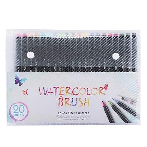 Zengqhui Highlighter Aquarell-Stift-Set 21 Aquarell-Bürsten-Feder-Satz weiche Flexible Spitze Wasser Painting Coloring Marker Pens September Leuchtstofffeder (Farbe : Black, Size : 21)