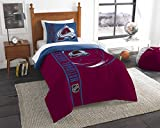 Officially Licensed NHL Colorado Avalanche 'Draft' Twin Comforter and Sham Set, Red/Blue