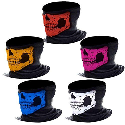 Maschera Teschio Cranio di Viso Senza Cucitura Tubo Maschere Viso per Moto, Colori Assortiti, 5 Pezzi