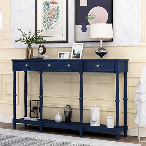 Solid Wood Console Table Entryway Table with Storage Shelf & Drawers for Living Room Guest Room, Classic Sturdy Sofa Table Sideboard Buffet Table with Bottom Rack for Home Office Easy Assembly (Blue)