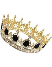 FRCOLOR Rhinestone Barroco Corona de Aleación de Cristal Nupcial Boda Tiara Corona Reina Princesa Tocado Joyería para Fiesta Favor Prom Brithday Sombreros