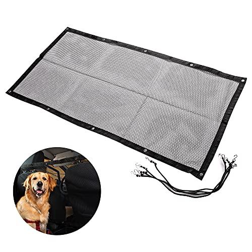 Zento Deals Car Pet Safety Barrier Net – Backseat Mesh Dog Divider – Universal Adjustable for SUV/Car/Van – Washable Safety Net Fence – (45''x24.5'')