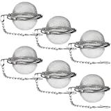 Tea Infuser, Set of 6, 2.1 Inch Sloth Tea Infuser For Loose Tea, Stainless Steel Tea Infuser Diffuser with Extended Chain Hook, Silver