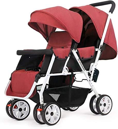 HZYD Poussette Double, Double Tandem Poussette de bébé, 5 Points Ceintures de sécurité, Design Pliable for Easy Transport (Couleur: Rouge) (Couleur: Bleu), Couleur: Rouge ( Color : Red )