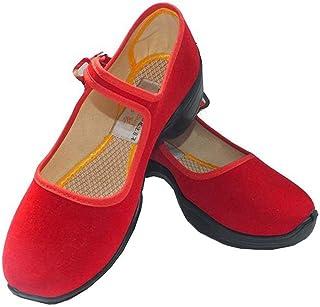 [GoldFlame-JP] レディースシューズ ダンスシューズ 婦人靴 ストラップ 軽量 厚底 健康シューズ ダイエット ウォーキングシューズ 散歩 ジョギング 歩きやすい キャンバス ダンスシューズ ステージ ブラック レッド