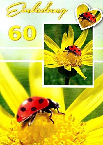 Uitnodigingskaarten 60e verjaardag vrouw man met binnentekst motief bloem 10 gevouwen kaarten DIN A6 staand met witte enveloppen in set verjaardagskaarten uitnodiging 60 verjaardag man vrouw K253