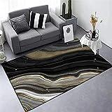 Alfombra Grande,Rug Carpet, Simple Black Gold Stone Pattern Rug, for Bedroom Bedside Living Room Kitchen Floor Mat Rugs,45 * 75CM