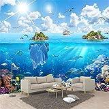Papel tapiz personalizado mural de pared 3d mundo submarino isla paisaje pintura sala de estar acuario fondo pared 3D,300(W)*210(H)cm