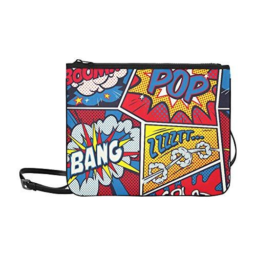 Yushg Umhängetaschen Retro Pop Art Comic Shout Nahtlos verstellbarer Schultergurt Mode Umhängetaschen für Frauen Mädchen Damen Reisemode Tasche Handtaschen für Jugendliche