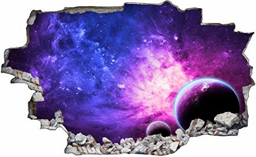 DesFoli Weltraum Erde Space Weltall Galaxy Planeten 3D Look Wandtattoo 70 x 115 cm Wand Durchbruch Wandbild Sticker Aufkleber C234