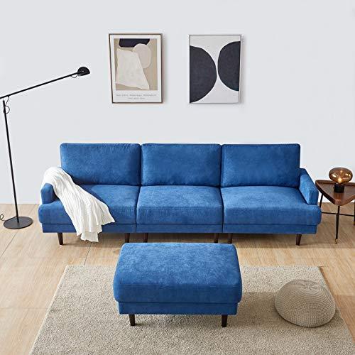 belupai Modern Fabric Sofa L Shape, 3 Seater with ottoman-266cm Dark Blue