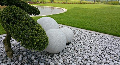 Trango 3er Set Gartenkugeln 30/40/50cm Ø in Granit-Optik TG34500G mit jeweils 5m IP44 Zuleitungskabel & E27 Fassung Kugelleuchte Außenleuchte Gartenleuchte Außenlampe