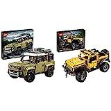 Lego 42110TechnicLandRoverDefenderModeloDeExposiciónColeccionableTodoterreno4X4 + 42122TechnicJeepWrangler,Coche4X4DeJuguete,VehículoOffRoaderSUV,MaquetaSetDeConstrucción