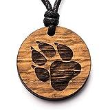 treeforce Collar con colgante de huella de perro, llavero o colgante de coche, 3 en 1, joyas de roble de cobre