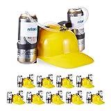 Relaxdays 10 x Party Trinkhelm, Helm mit Schlauch, für 2 Dosen Bier, Spaßartikel Fasching u. Fußball, lustiger Bierhelm, gelb