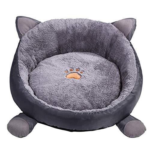 YJZQ - Cama para gato y cachorro, cama con colchón de peluche para casa caliente invierno 3D orejas de gato