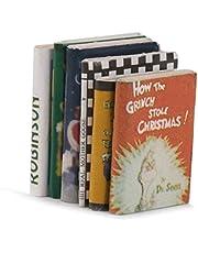Decoracion de casa de munecas - libros - SODIAL(R) 1/12 Libros en miniatura casa de munecas de madera 6pzs colorido