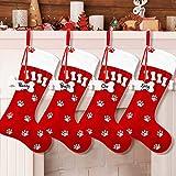 WILLBOND 4 Pack Christmas Stocking Pet Dog Stocking Dog Paw Fireplace Hanging Stocking for Christmas...