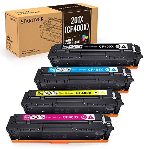STAROVER Kompatibler Toner Kartuschen Ersatz für HP 201A 201X CF400A CF400X CF401X CF402X CF403X für HP Color LaserJet Pro MFP M277dw M277n M274n M277 LaserJet Pro M252dw M252n (4 Packung)