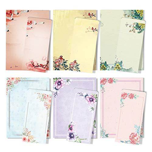 ANZON MORIES A4 Japanse Stationair Papier en Enveloppen Set, 48 Letter Schrijven Papier met 24 Zelfdichtende Enveloppen, Printer Vriendelijk, Inkt Schilderen Klassiek Vintage Bloemen Ontwerp