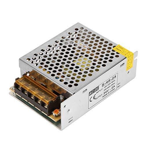 Transformador de 48W Fuente de alimentación en Modo conmutado 110V-220V AC Adaptador de conmutación Convertidor Controlador LED DC 24V / 2A Equipo de automatización Estable para iluminación