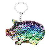 [火の色] キーホルダー キーチェーン ペンダント スパンコール レディース 豚形 バック 携帯 鍵 車飾り 魅力 便利 カラフル