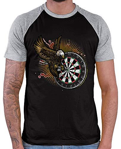 HARIZ Herren Baseball Shirt Dart Adler Bullseyes Dart Sprüche Männer Weltmeisterschaft Plus Geschenkkarten Black/Grey Melange L