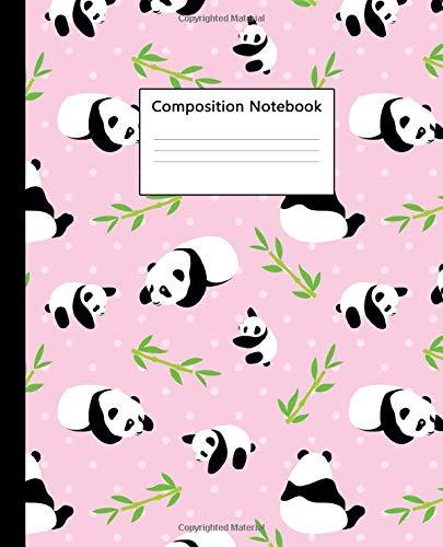 Composition Notebook: Pretty Wide Ruled Paper Notebook Journal | Cute Baby Pink Bamboo & Panda Wide Blank Lined Workbook for Teens Kids Students Girls for Home School College for Writing Notes.