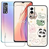 LMLQSZ TPU Cover for Vivo IQOO Z3 5G + HD Tempered Glass, Silicone Shell Bumper Protective Back Case - 9 Hardness Anti-Scratch Screen Protector for Vivo IQOO Z3 5G (6,58') - LLM47