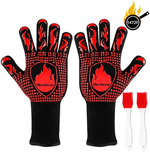 OurWarm BBQ Grilling Gloves 1472 Heat Resistant Gloves for Grill Silicone Oven Gloves Non Slip product image