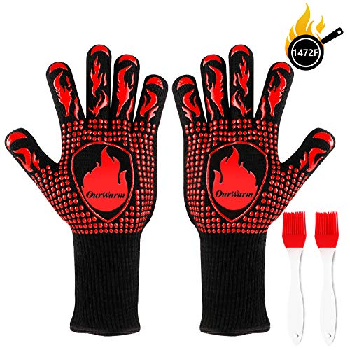 OurWarm BBQ Grilling Gloves, 1472℉ Heat Resistant Gloves for Grill, Silicone Oven Gloves, Non-Slip Kitchen Oven Mitts for Barbecue, Cooking, Baking, Frying, Welding, Cutting, Smoker, 13 Inch