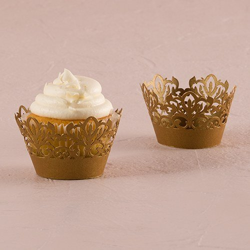 Weddingstar Inc. Classic Damask Filigree Paper Cupcake Wrappers Shimmer Ivory